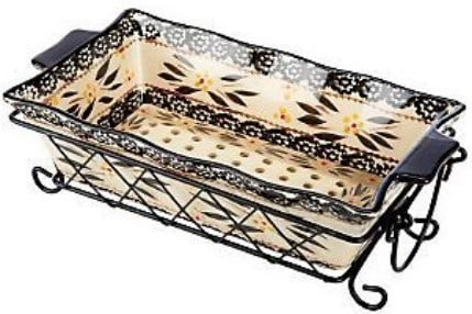 Temp-Tations Floral Lace Loaf Pan With Ceramic Drip Tray