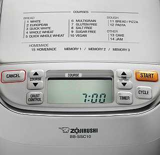 Zojirushi BB-SSC10 Control Panel