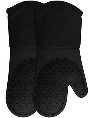 Homwe Extra Long Professional Silicone Quilted Oven Mitts