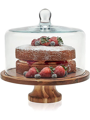 Libbey Acacia Wood Cake Stand