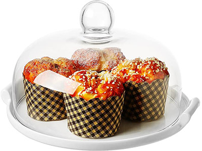 MyGift Vintage Round Ceramic Cake Stand