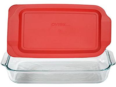 Pyrex Basics 3 Quart Glass Oblong 9×13 Baking Dish with Plastic Lid