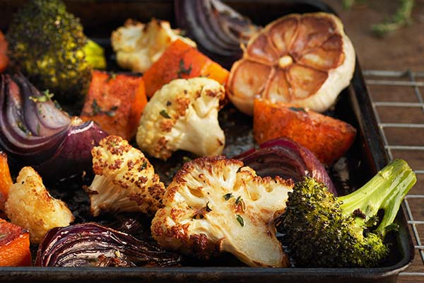 vegetables in oven