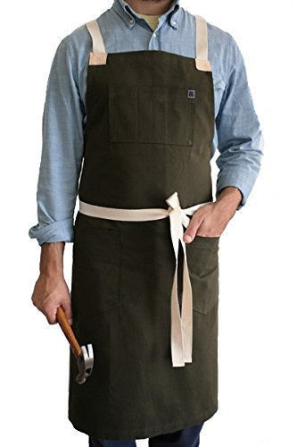 Hedley and Bennett American-Made Apron; Moss Neckless